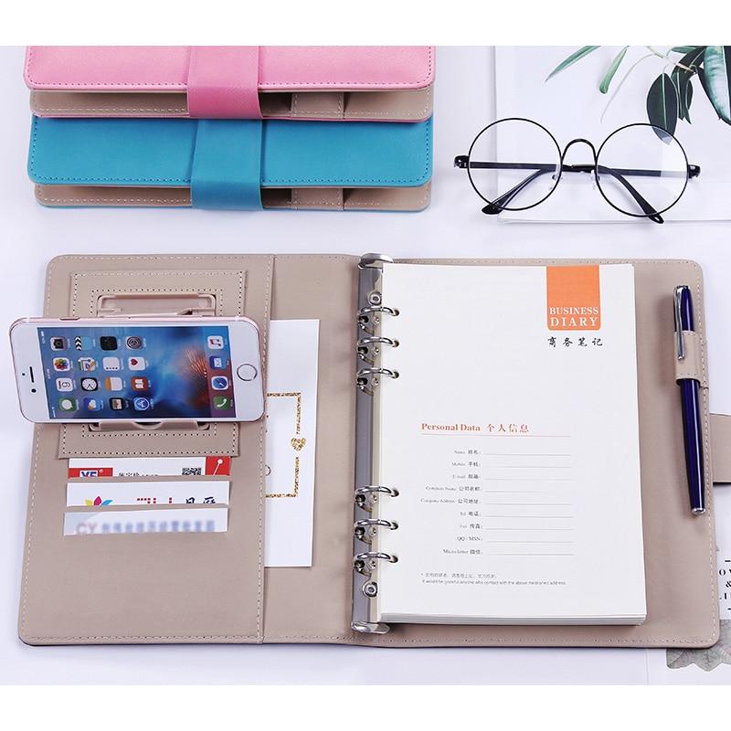 A5 B5 Business Handmade PU Leather Notebook Lined Spiral Paper Hardcover Diary Journal  Week Planner Agenda Organizer Binder
