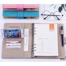 Caderno de couro material de poliuretano a5 b5, social, feito à mão, espiral, diário, semana, planejador, organizador da agenda, encadernação