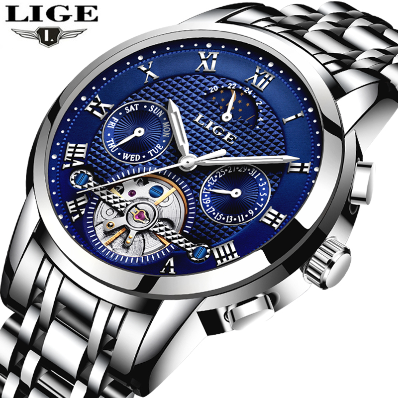 LIGE Watch Men Business Moon phase Clock Mens Watches Brand Luxury Fashion Casual Sport Mechanical Wristwatch Relogio Masculino mens watch top luxury brand fashion hollow clock male casual sport wristwatch men pirate skull style quartz watch reloj homber