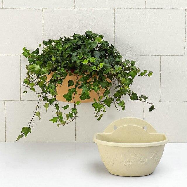 1 個プラスチック壁ハンギングハーフラウンドハンギングバスケット垂直プランターバルコニー家の装飾園芸グリーン Craftses
