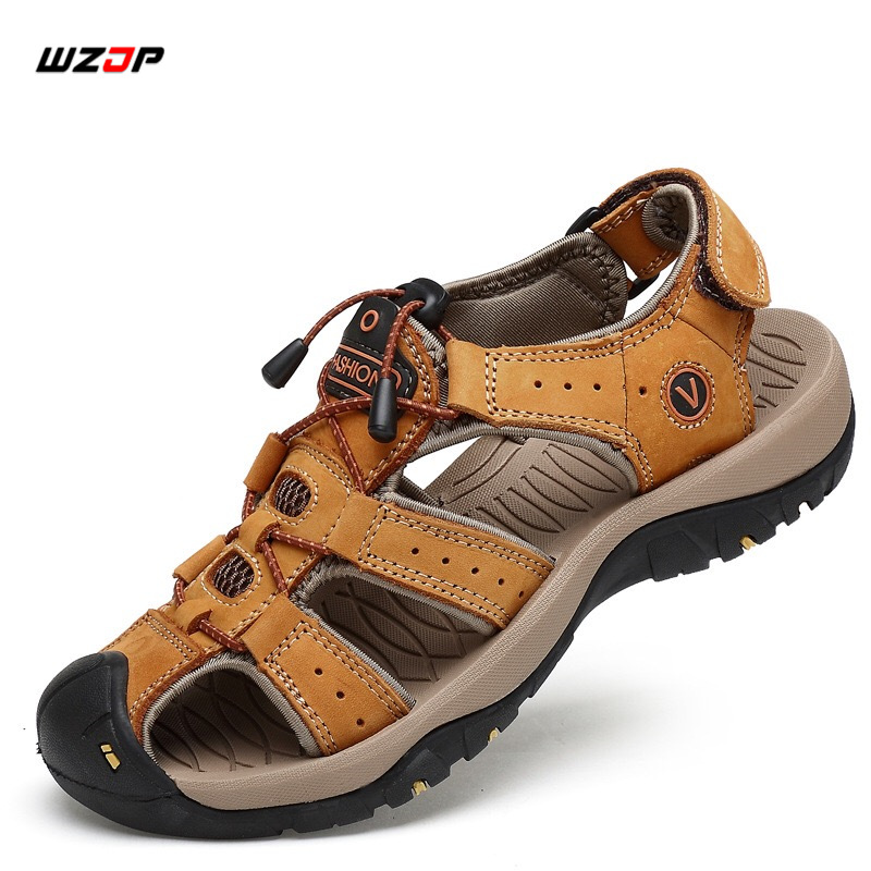 WZJP Big Size Men Outdoor Sandals Soft Breathable Beach Shoes Men Genuine Leather Hard Wearing Non