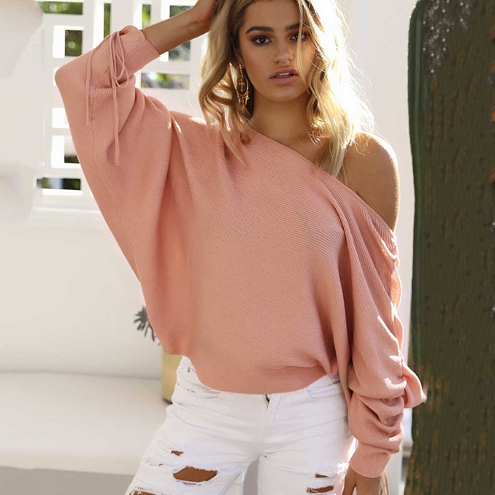 ec7c0544484e4 Women Sweater Autumn Winter 2018 New Pullover One Shoulder Top Lace Up  Batwing Sleeve Female Loose