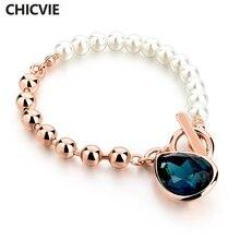 CHICVIE золотой цвет жемчужные бусы браслеты с синими камнями свадьба и помолвка женский ювелирный браслет Sbr160114