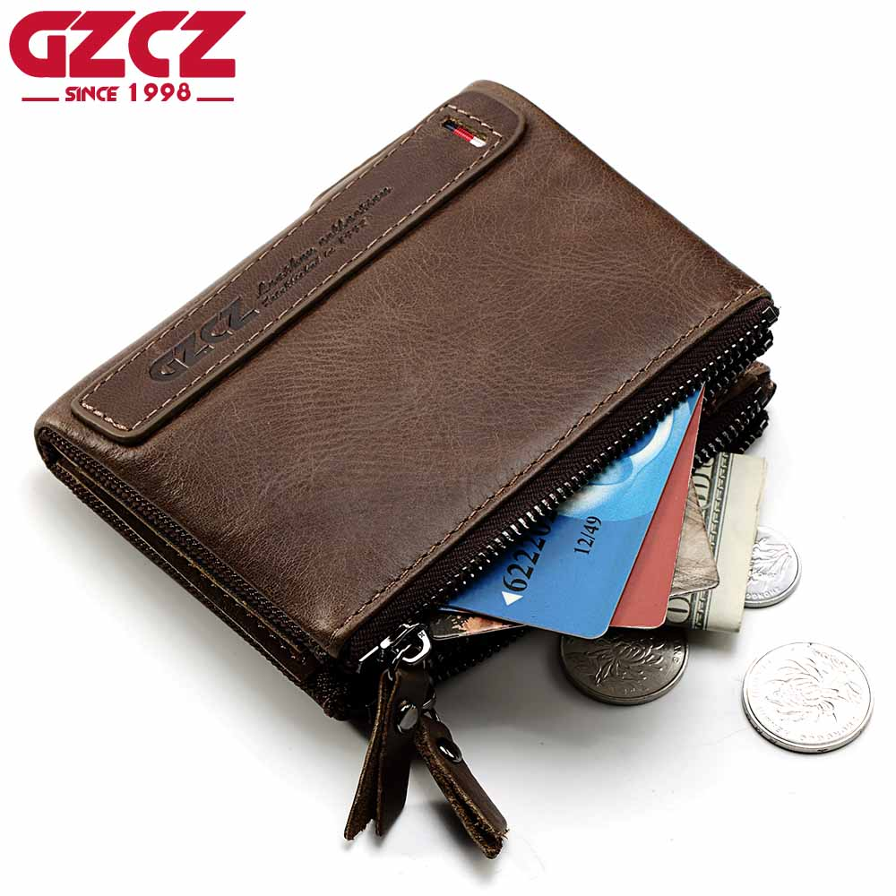 GZCZ Brand Genuine Cowhide Leather Men Wallets Card Holder Mini With Double Zipper Coin Purse Pocket Portomonee Rfid Small Walet genuine leather men wallets short coin purse vintage double zipper cowhide leather wallet luxury brand card holder small purse