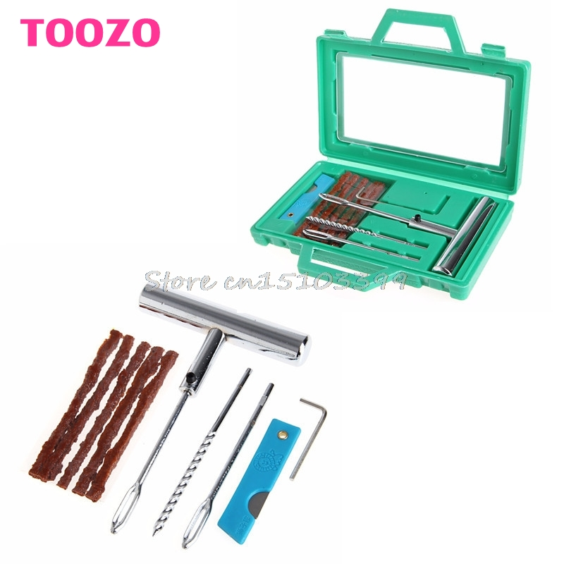 Car Truck Wheel Tire Repair Steel Tool Kit Puncture Plug Patch Mending Tool Set G08 Drop ship
