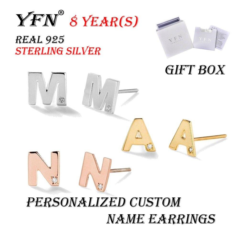 YFN marque en argent Sterling personnalisé personnalisé CZ majuscule lettre Nam boucles d'oreilles pour femmes fille avec boîte-cadeau 3 couleurs