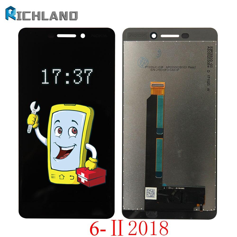 D'origine Pour Nokia 6 II 2018 LCD Affichage à L'écran Tactile Digitizer assemblée Pour Nokia 6 6.1 2018 TA-1043 TA-1045 1050 1054 1068 LCD