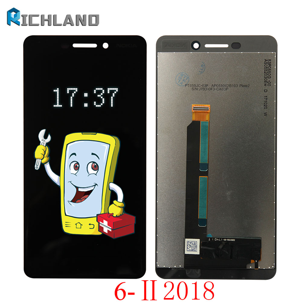 Original For Nokia 6 II 2018 LCD DIsplay Touch Screen Digitizer Assembly For Nokia 6 6.1 2018 TA-1043 TA-1045 1050 1054 1068 LCD