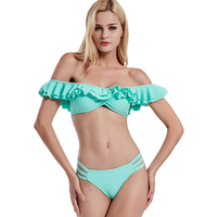 2018 Solid Bikini Summer Ruffle Flounce Beach Wear Brazilian Swimwear Sexy Biquini Off Shoulde Swimsuit Push