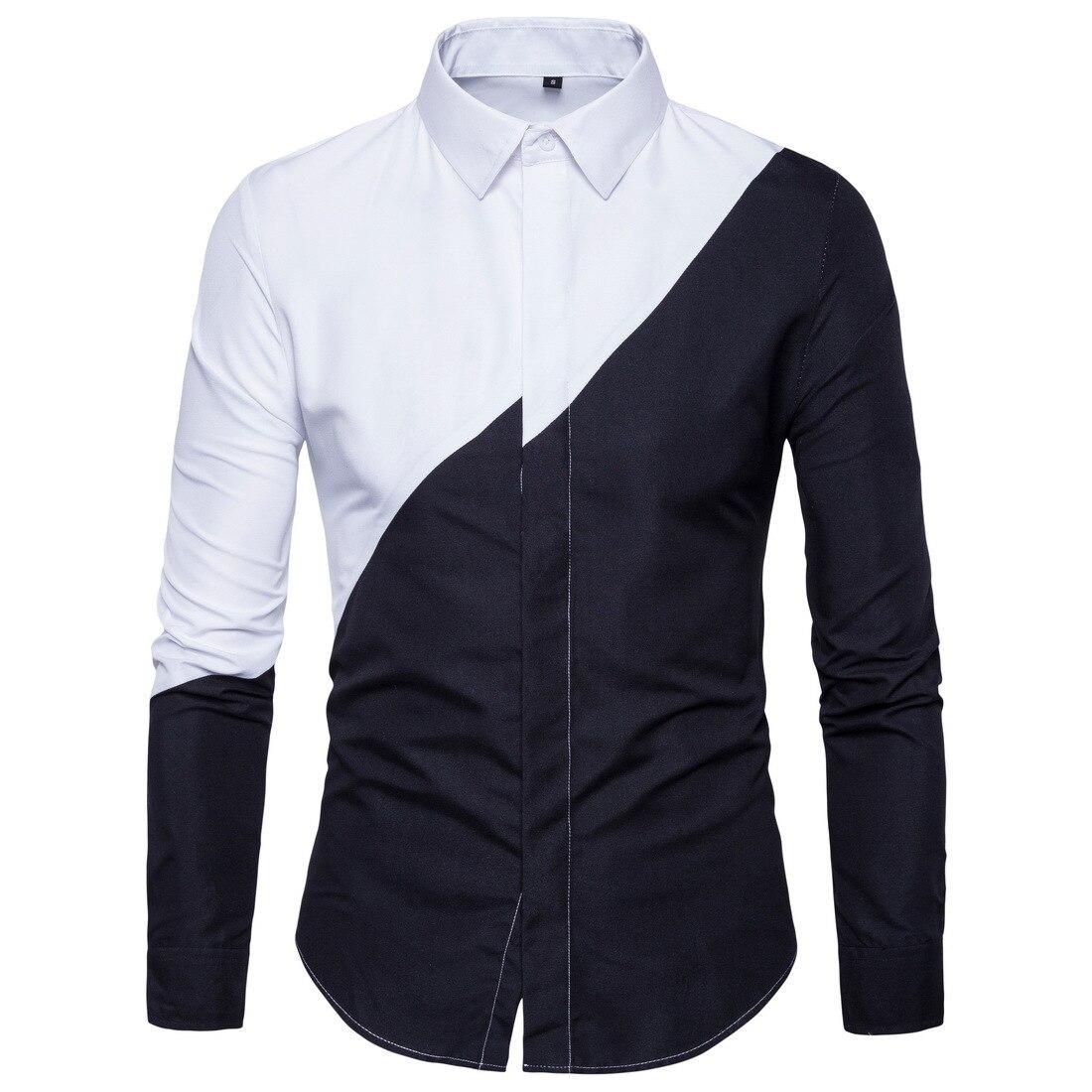 Shirt Men 2018 New Black White Patchwork Mens Long-sleeved Shirts Men Dress Clothes 2018 Chemise Homme Man Shirts High Quality