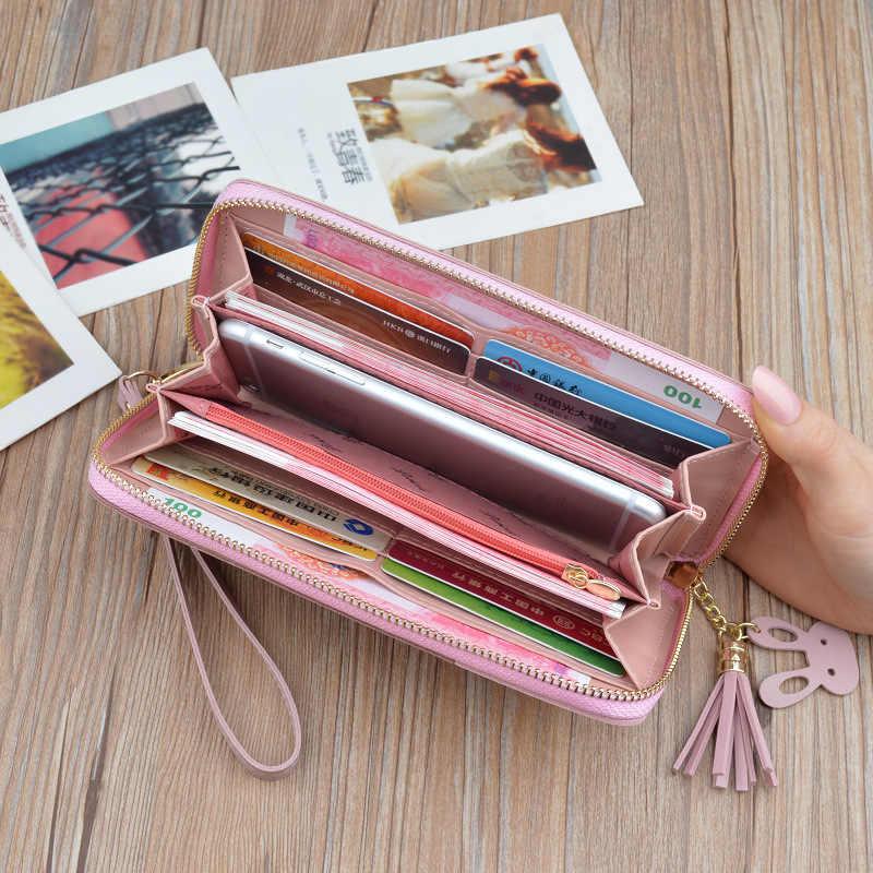 עור ארנקים נשים טלפון מצמד ארנק נשי רוכסן ארוך מטבע ארנק אשראי כרטיס בעל עיצוב ציצית כסף תיק