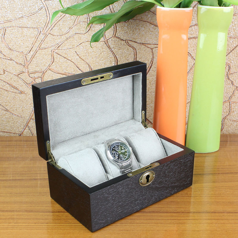 Fashion 3 Slots Brand Wood Watch Box Black European Style Watch Storage Box With Lock And Key Top Watch Jewelry Gift Box A0325 black out watch box