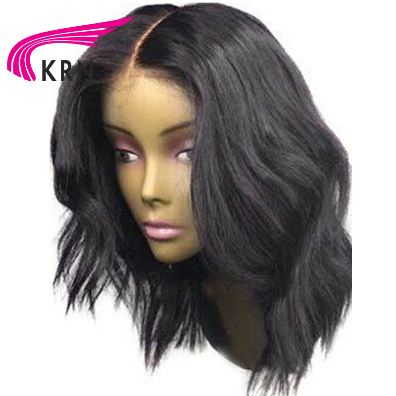 KRN 13*6 Deep Part Short Wavy Lace Front Human Hair Wigs With Baby Hair Remy Hair Pre Plucked Brazilian Lace Front Bob Wigs