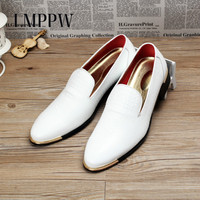 Fashion Popular White Wedding Shoes Men S Breathable Leather Shoes Luxury Brand Italy Designer Oxfords Shoes