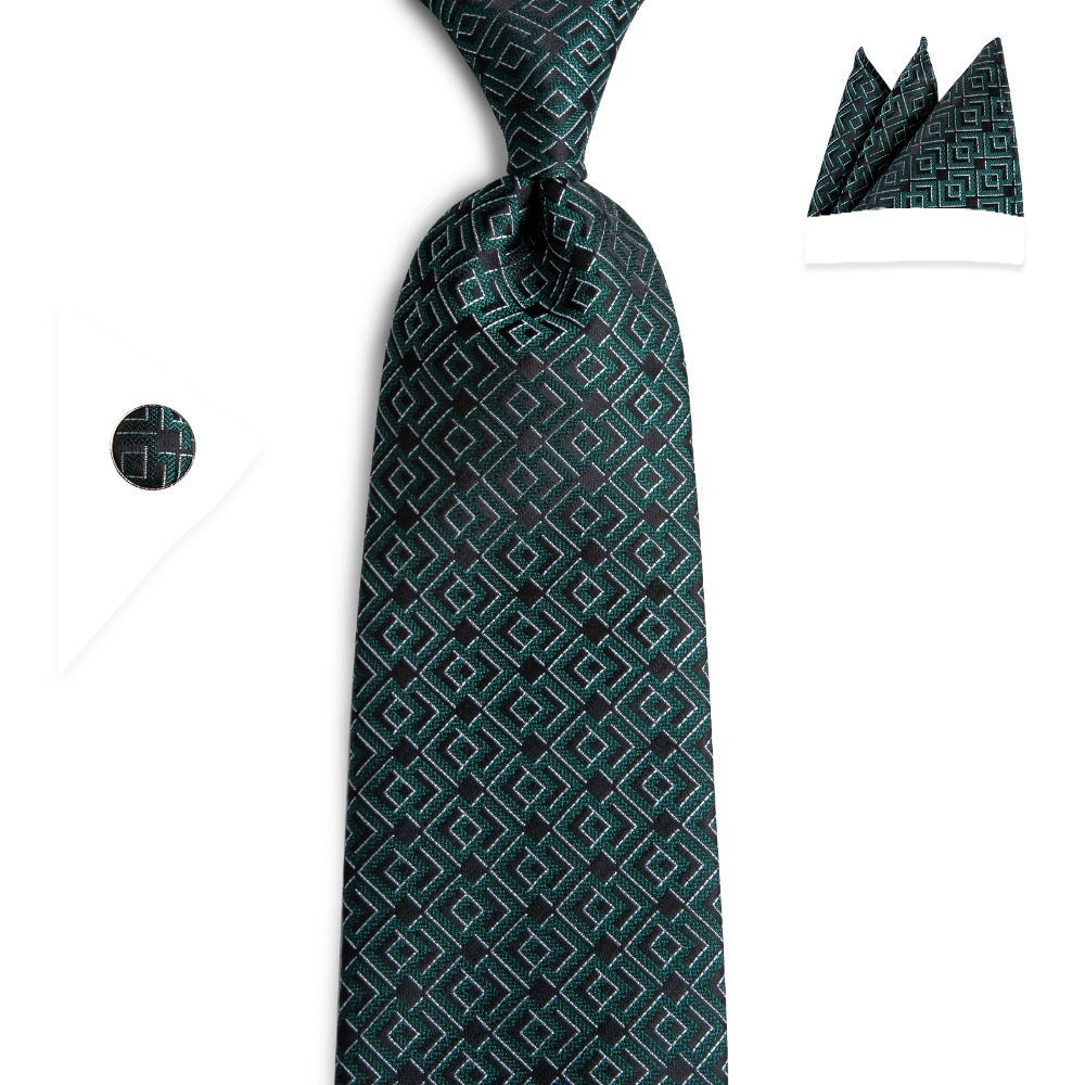 DiBanGu Dark Green Men Tie With Pocket Square Cufflinks Set High Quality Silk Jacquard Woven Men's Tie Necktie Set SJT-7157