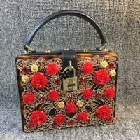De diseño de moda de la edición limitada de oro brown leopard hollow flores de acrílico de las señoras bolso de hombro del bolso mini bolso mensajero y la mujer