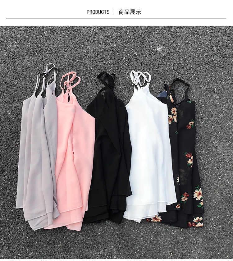 Korean Fashion Chiffon Frauen Camis Streetwear Sexy Tops Ärmellose Schwarze Weibliche Tank Tops Plus Größe XXXL/4XL Rosa Hemd