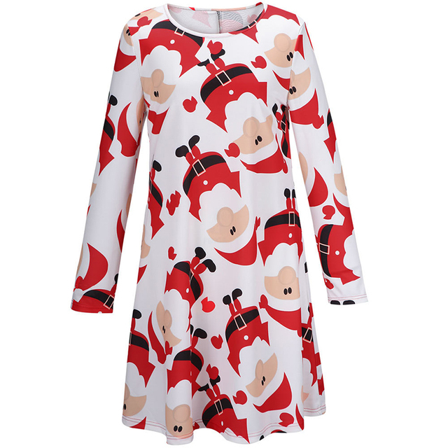 1d35e7342e Women Ladies Christmas Gifts Santa Claus Printed Dress Xmas Party Costumn  Red Tunic Swing Dress Casual Loose Long Baggy Tops
