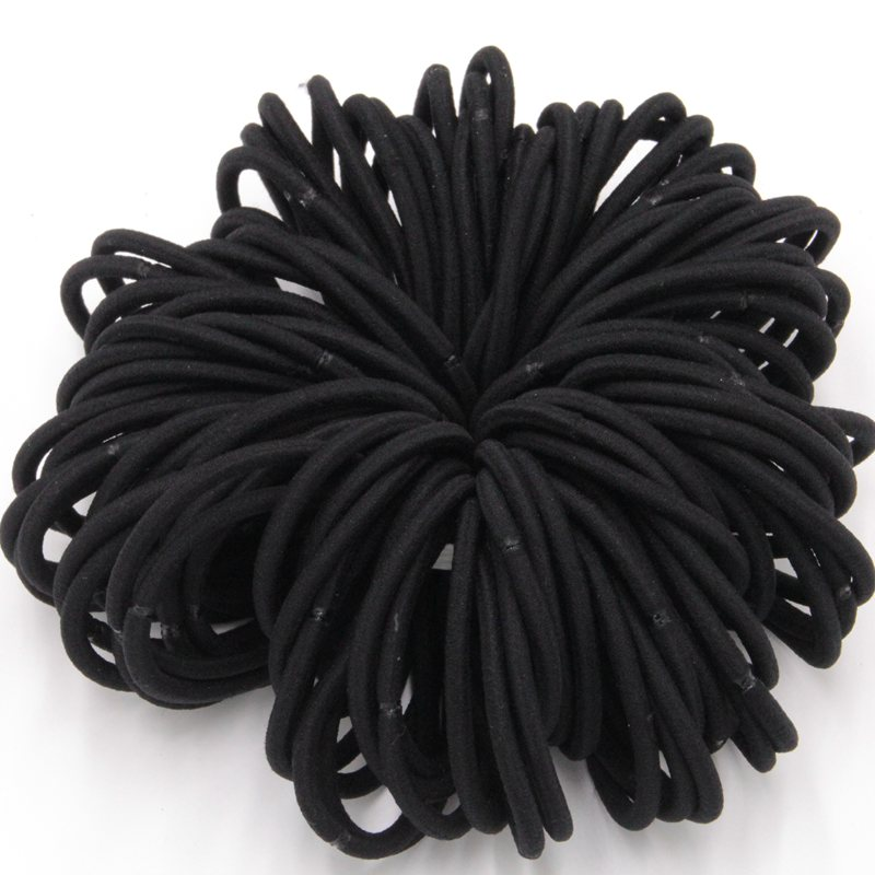 100pcslot Black Color Rope Elastic Hair Ties 4mm Thick