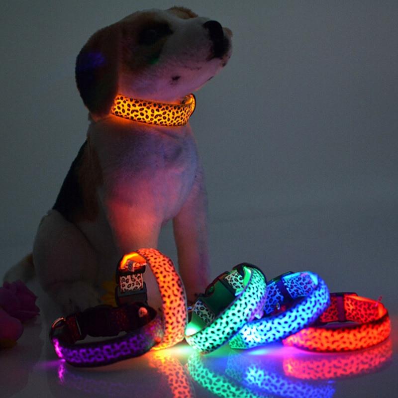 <font><b>Safety</b></font> Nylon <font><b>LED</b></font> <font><b>Pet</b></font> Dog <font><b>Collar</b></font> <font><b>LED</b></font> Luminous Flash Light Leopard Series <font><b>Pet</b></font> <font><b>Collar</b></font> 2.5cm Wide <font><b>Pet</b></font> Products For Small Medium Dogs