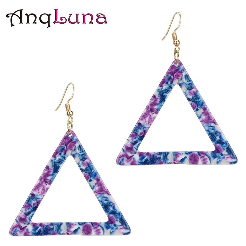 50 Pair Wholesale 2018 New Trendy Fashion Jewelry Temperament Triangle Large Geometric Earrings Acetate Board Wild Earrings pair of stylish rhinestone triangle stud earrings for women