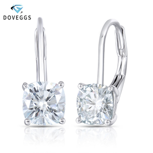 Image 1 - DovEggs Sterling Solid 925 Silver 2.00CTW 6mm Slight Blue Cushion Cut Moissanite Stone Hoop Earrings for Women Trendy Earrings