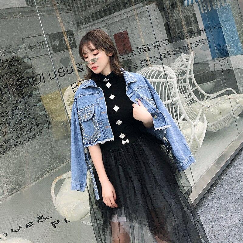 De Veste Printemps Streetwear Jeans En Femmes Rivet Taille Haute Base Nouveau Courte Perles Punk Blue 2019 Mode Manteau Jean Déchirés oWQCBrdxe