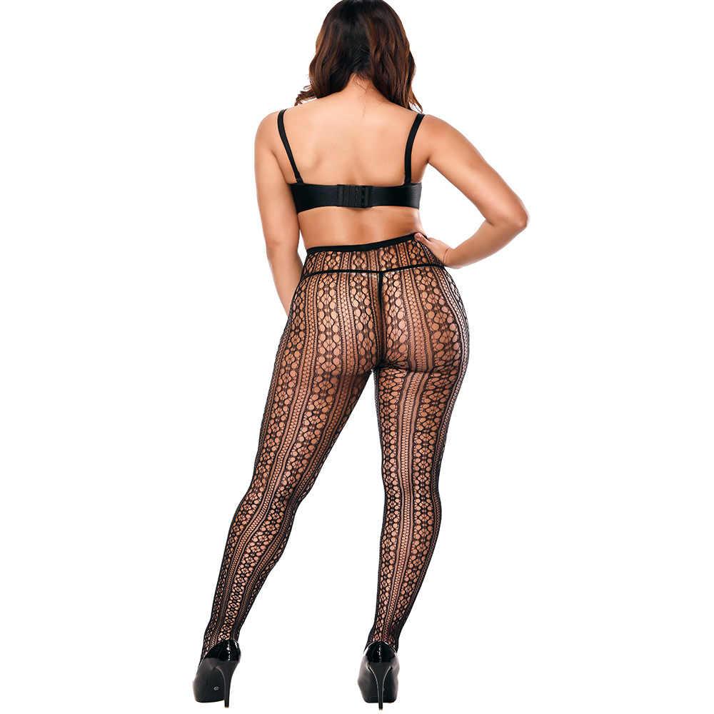 ชุดชั้นในเซ็กซี่ Stripe ถุงน่องยืดหยุ่นโปร่งใสสีดำ Fishnet ถุงน่องต้นขา Sheer Tights Pantyhose ปัก