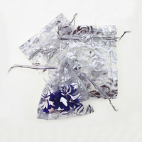 17*23cm 50pcs White Silver Rose gift bags for jewelry/wedding/christmas/birthday Yarn bag with handles Packaging Organza Bags