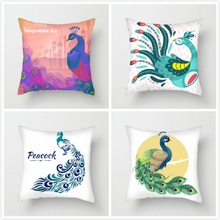 Fuwatacchi Watercolor Peacock Printed Cushion Cover Beautiful Peahen Pillow Cover for Chair Peacock Opening Decorative Pillows цена