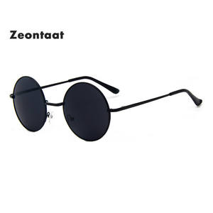 Zeontaat Steampunk Sunglasses Frame Circle Black Lens Round Design Women Brand Gafas-De-Sol