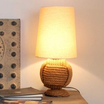 크리 에이 티브 대마 로프 테이블 램프 패브릭 데스크 라이트 거실 침실 머리맡 어린이 방 장식 미술 조명 램프