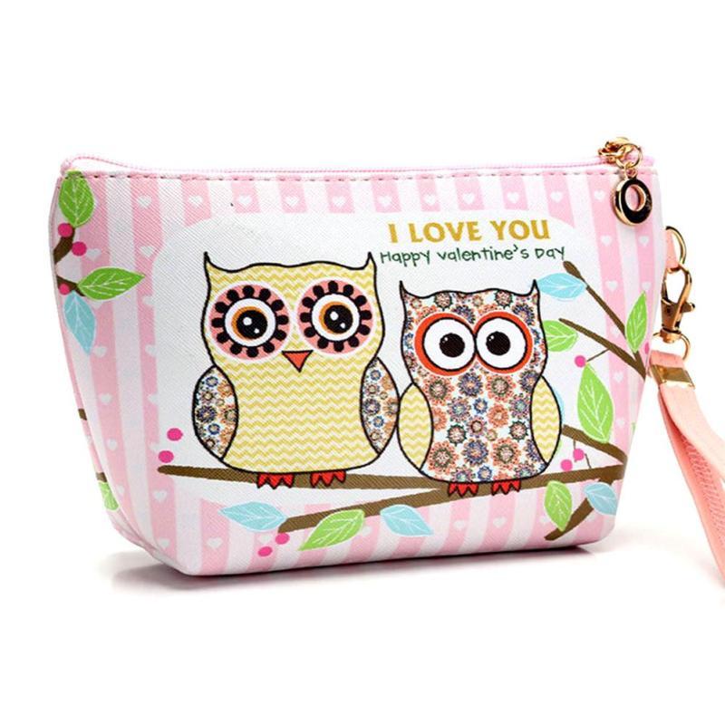 Kawaii Owl Printing Women Make up Handbag Pu Leather Waterproof Zipper Pouch Travel Storage Bag for Girls Small Cute Bags 2