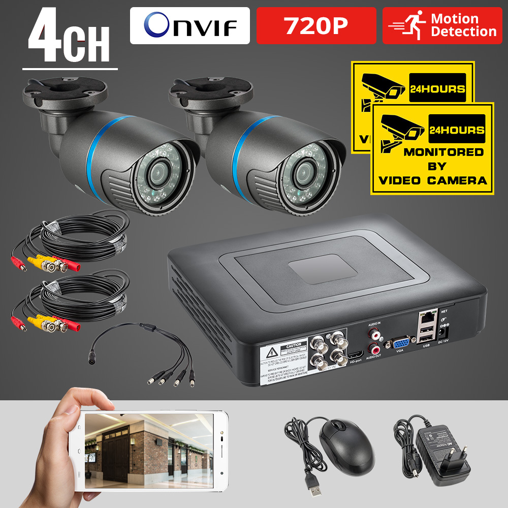 Caméra de vidéosurveillance 4CH wifi 720p 2 pièces 1MP DVR système de sécurité extérieur résistant aux intempéries vision nocturne système de Surveillance vidéo DVR Kit