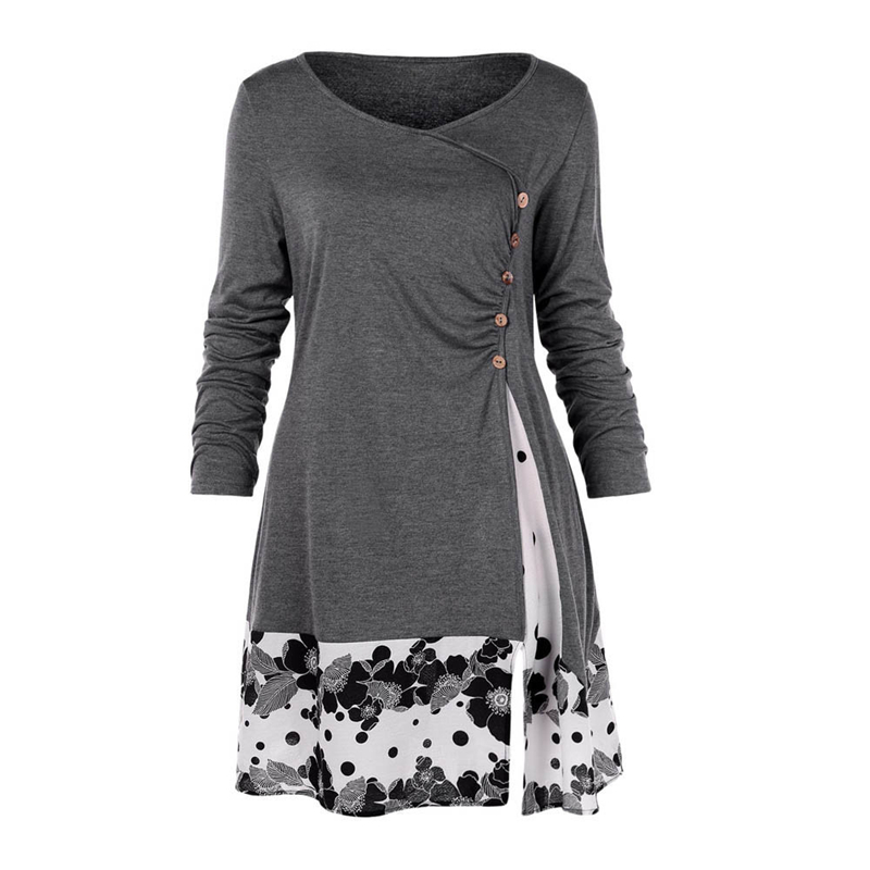 Size 5XL Draped Floral Long Tunic Shirt Long Sleeve O-Neck Buttons Embellished Women Spring Casual Tops Tee -42