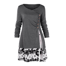 Size 5XL Draped Floral Long Tunic Shirt Long Sleeve O-neck Buttons Embellished Women Spring Casual Tops Tee -42 недорого