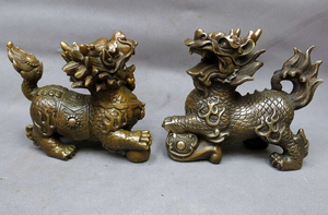 China brass sculpture carved copper Feng Shui lucky Foo Dogs Lion pair Statue Copper garden decoration