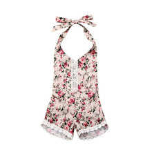 Cute Newborn Infant Baby Girl Romper Summer Clothes Floral Strap Romper Lace Jumpsuit Sleeveless Flower Print Backless Jumpsuit black floral print drawstring sleeveless romper