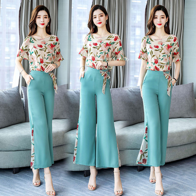2019 new Fashion elegant chiffon 2 Pieces Suits Summer Women short sleeve floral shirt blouse and