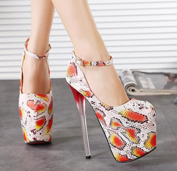 Women Shoes Promotion 2015 Spring Fashion Shallow Mouth 19cm Ultra High Heels Serpentine Pattern Women's Thin  -  LET 'S GO store