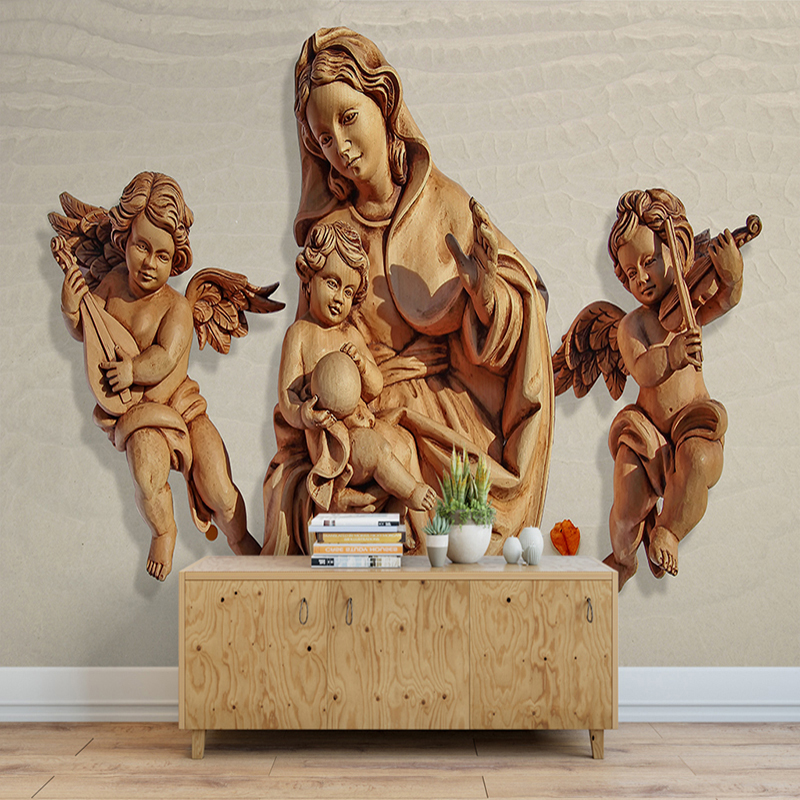 Custom Photo Wallpaper Angel 3D Relief Non-woven Large Murals Wallpaper Simple Modern Living Room Bedroom Backdrop Wall Covering
