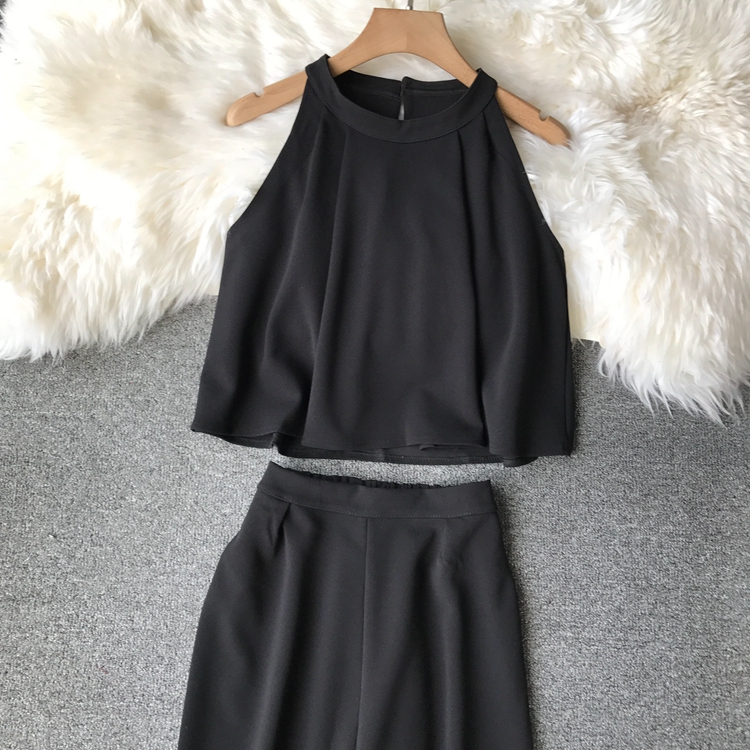 HTB1kQQtVCzqK1RjSZFHq6z3CpXag - two piece set women fashion sexy short top and long pants casual sleeveless Elastic high waist female summer festival clothing