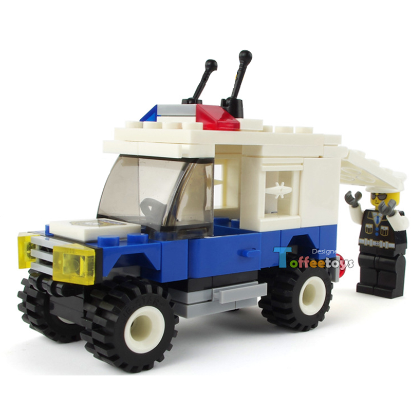 78pcs Children City Police Off-road Vehicle Building Blocks Bricks Figure Kids Enlighten SUV Car Blocks Toy for Boys K2596-20007 890pcs city police station building bricks blocks emma mia figure enlighten toy for children girls boys gift