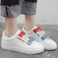 Breathable White Shoes Hook Loop Massage Ladies Shoes Fabric Solid Sneakers Shoes Round Toe Sewing Women