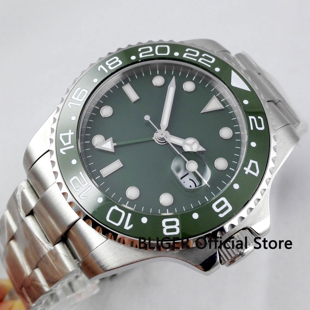 Sapphire Crystal BLIGER 43MM Green Sterile Dial Ceramic Bezel GMT Function Luminous Marks Automatic Movement Mens WristwatchSapphire Crystal BLIGER 43MM Green Sterile Dial Ceramic Bezel GMT Function Luminous Marks Automatic Movement Mens Wristwatch