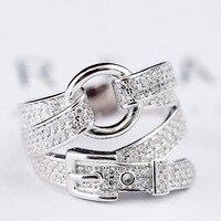 80 Silver Rings For Women Fine Jewelry 925 Sterling Silver Female Cubic Zircon Punk Rock Fashion