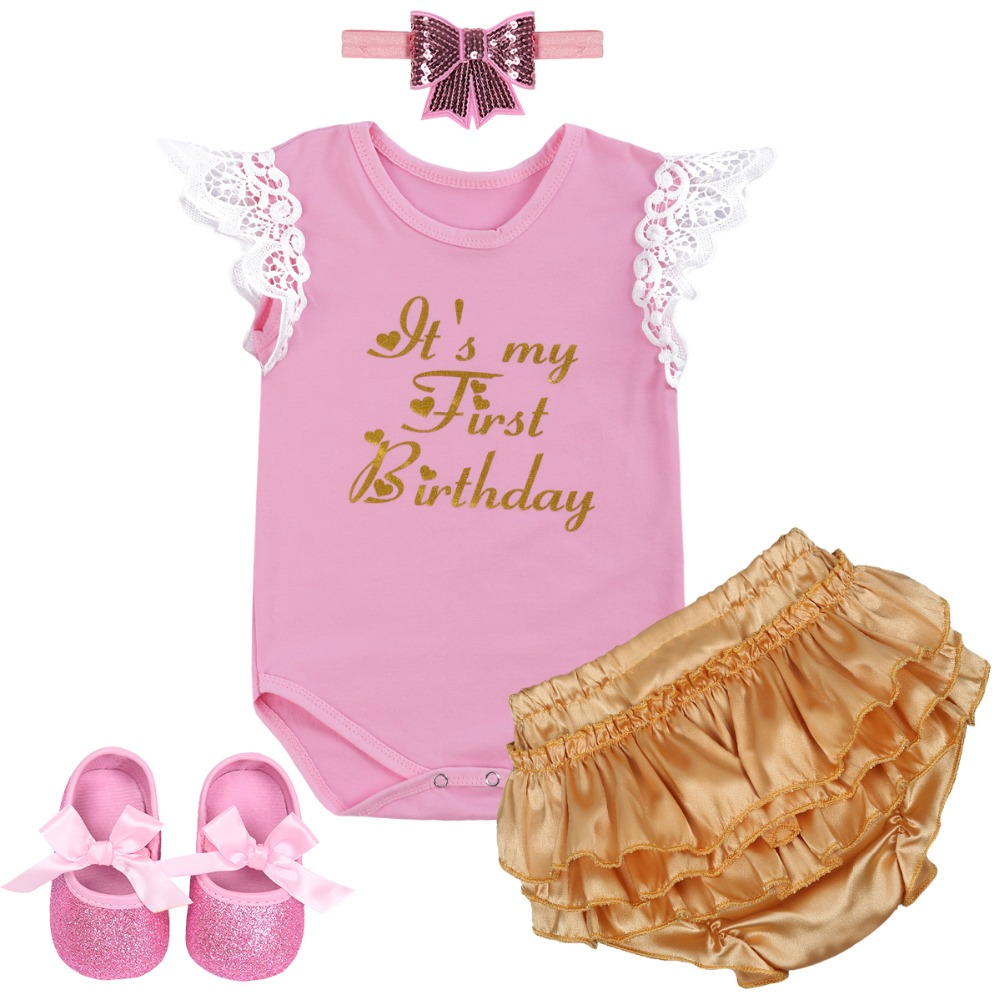 4pcs Set Baby Girl Clothes My First Birthday Cake Smash Outfit Baby Shoes Romper Bodysuit Ruffle Pants Headband Baby Girl Outfit4pcs Set Baby Girl Clothes My First Birthday Cake Smash Outfit Baby Shoes Romper Bodysuit Ruffle Pants Headband Baby Girl Outfit
