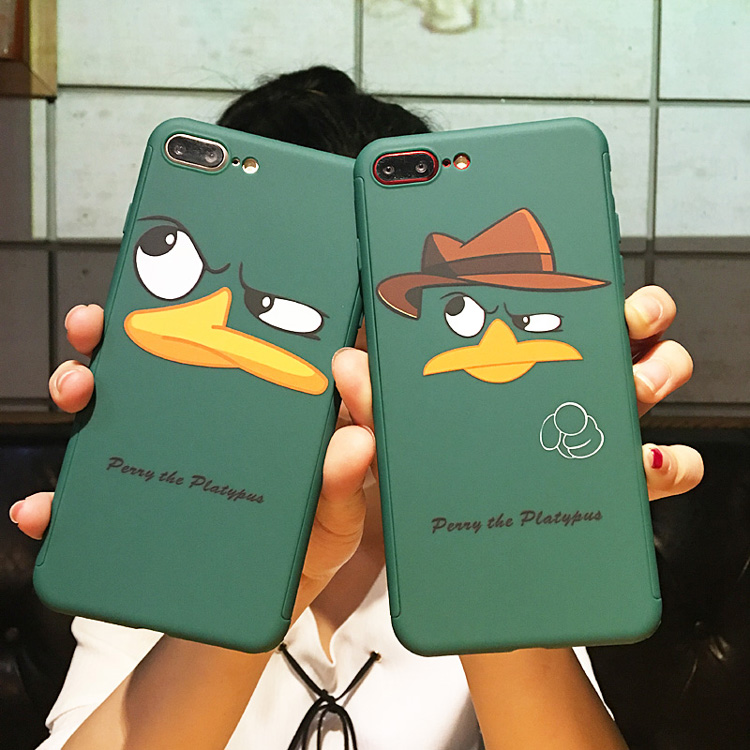 For iphone 7 / 7Plus 360 case, Front + Back 360 full range Matte skin Cover case for iphone 6 6S/ 6S plus Funny Duck Fudas