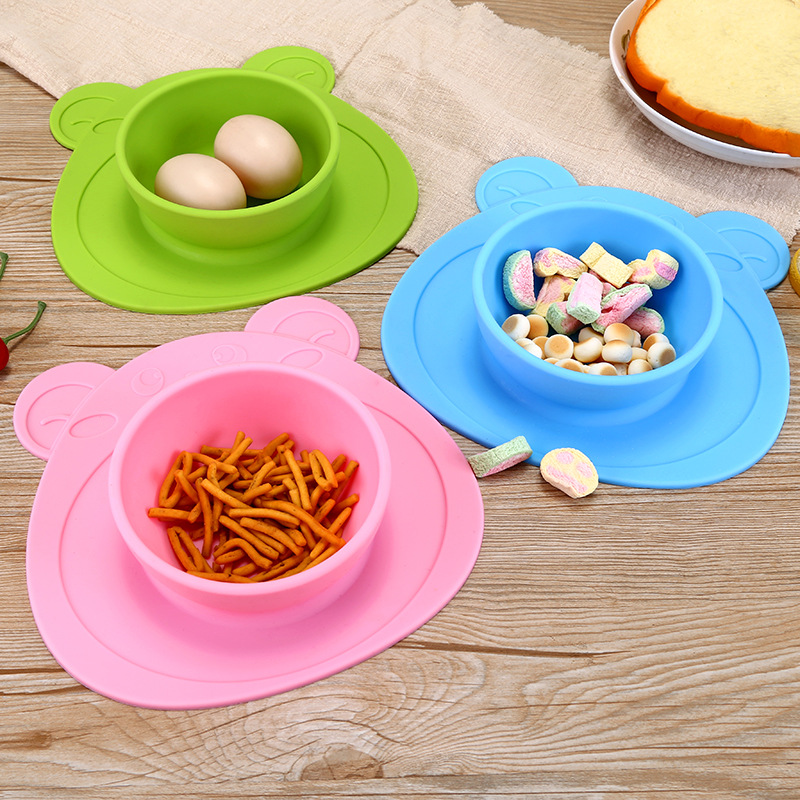 New Baby Silicone Bowl Children Silicone Slip-proof Plate Integrated Separate Sucker Placemat Divided Plate
