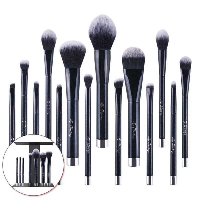 14 pièces/ensemble pinceaux de maquillage portables magnétiques ensemble surligneur brosse sculptant outil de maquillage de beauté cosmétique avec organisateur de brosses